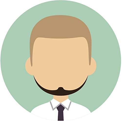 Simple Professional Cartoon Profile Portfolio Picture Icon Emoji Vinyl Sticker, Blonde Hair Black Beard Man Mint Green -