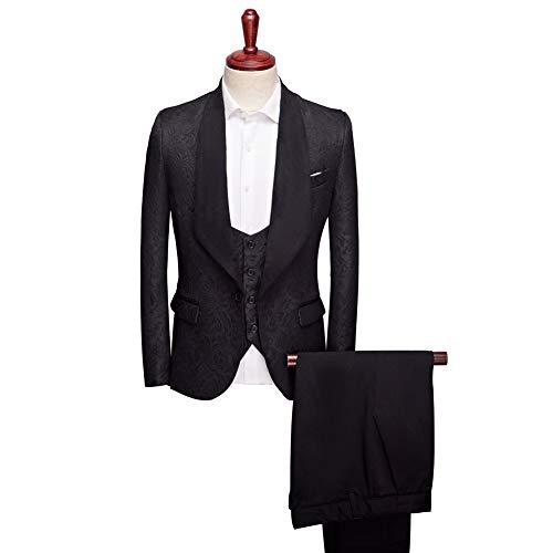 Btaidi Shawl Lapel Man Suit Groom Wedding Men's Blazer Groomsmen Suits 3 Pieces Jacket Vest Pants ()