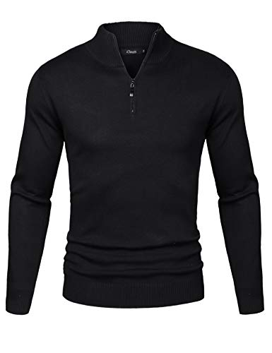(iClosam Mens Casual Slim Fit Zip up Pullover Sweaters Mock Neck Polo Sweaters with Ribbing Edge Black)