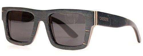 The Cassette Company Stockholm Canadian Skatedeck Smoke Polarized Lens Square Sunglass, Black - Sunglasses Cassette
