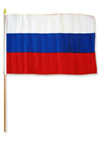 ALBATROS 12 inch x 18 inch (Pack of 12) Russia Stick Flag with Wood Staff for Home and Parades, Official Party, All Weather Indoors Outdoors