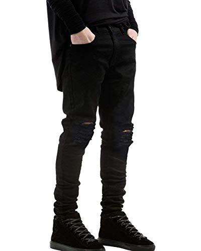 Jeggings Vintage Nero Slim Ragazzo Skinny Uomo Pantaloni Jeans Di Tendenza Da Moto Dritti Fit Casual q4yCSO