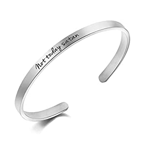 Awegift Not Today Satan Bracelet Inspirational Gifts Women Unique Jewelry Gifts Her Mantra Cuff Bangle