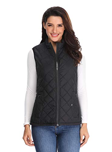 (MISS MOLY Women's Lightweight Quilted Zip Vest Stand Collar Gilet Padded Sleeveless Gilet Vest-Black L)