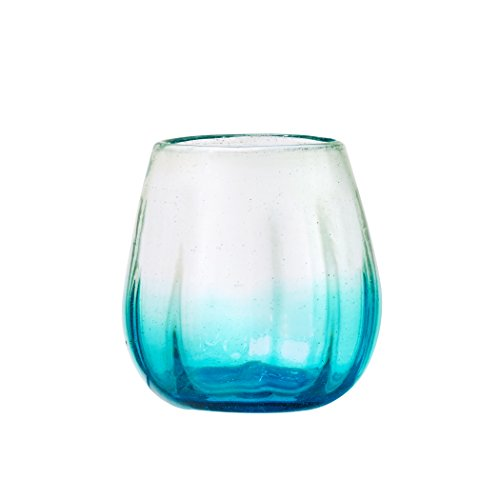 Amici Home, A7MCR061S4R Rosa Collection Stemless Wine Glass, Aqua, Recycled, Mexican Artisan Handmade Glassware, Set of 4, 16 Ounces