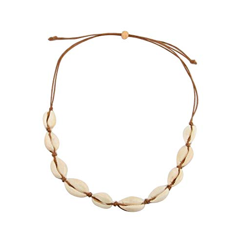 - Canboer Brown Rope Natural Shell Beads Beach Choker Necklace Handmade Hawaii Jewelry for Girls Women Ladies