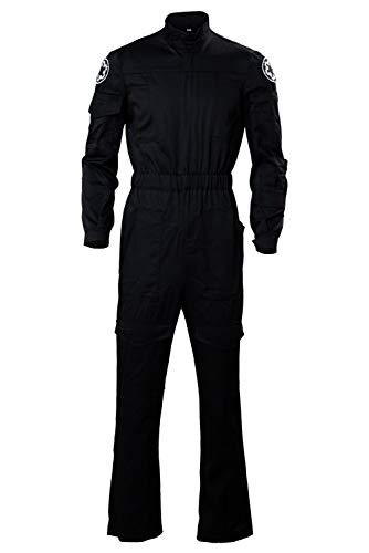 Cosplaysky Men's Halloween Cosplay Black Jumpsuit for Jedi