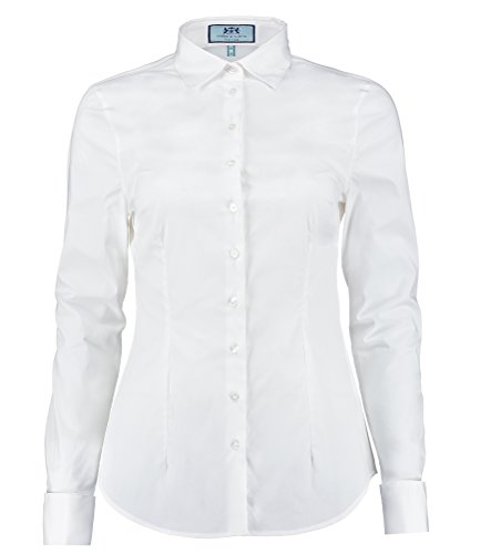 (HAWES & CURTIS Womens Fitted Cotton Double Cuff Stretch Smart Casual Shirt, White, 14)