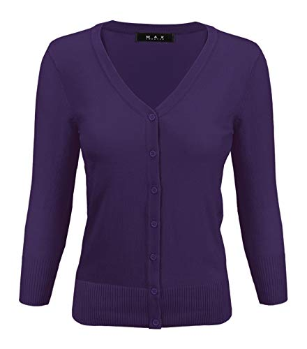 (Women's V-Neck Button Down Knit Cardigan Sweater Vintage Inspired CO078-GRP-3X Grape)