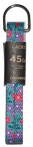 (Converse Unisex Replacement Cord Shoe Laces Flat Style Shoelaces (Teal Flowers, 36))