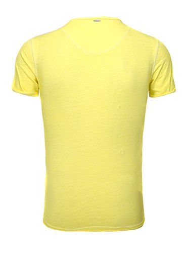 Key Largo Herren vintage used destroyed Look uni T-Shirt Soda new v-neck tiefer V-Ausschnitt slim fit tailliert einfarbig T00619 gelb M