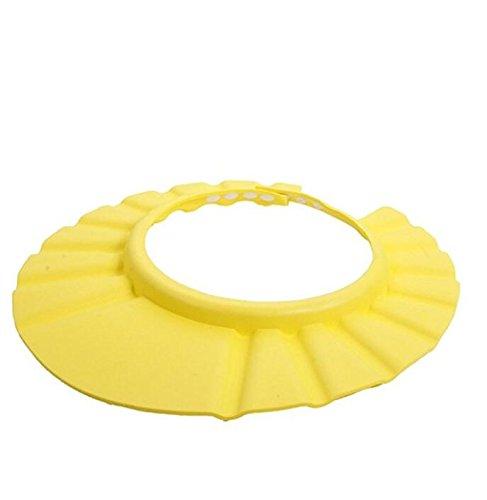 Newin Star Morbido Sicuro Baby Kid Bambini Shampoo Bath Protector Cuffia per la Doccia Hat Wash Capelli Shield (giallo)