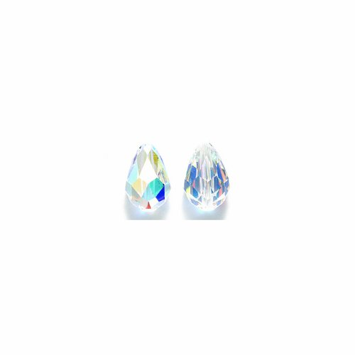(Swarovski 5500 Tear Drop Beads, Aurora Borealis Finish, 8 by 12mm, Crystal, 3-Pack)