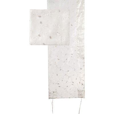 Tallit Prayer Shawl Gadol + Bag + Atara Set - Yair Emanuel ORGANZA FULL EMBROIDERY WHITE