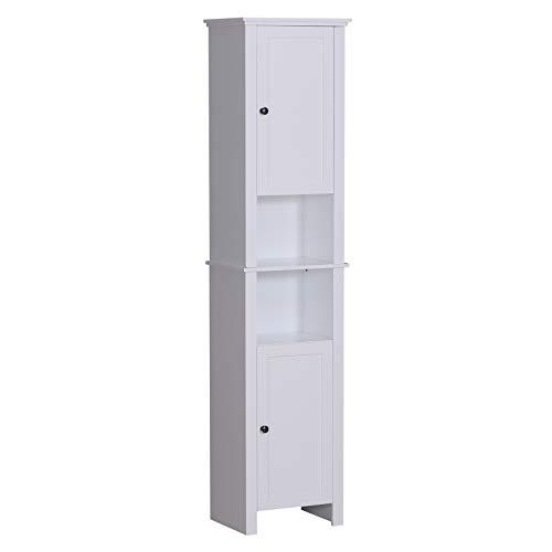 "- HOMCOM 67"" Wood Free Standing Bathroom Linen Tower Storage Cabinet - White"