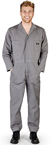 Works Natural (NATURAL WORKWEAR Mens Long Sleeve Basic Blended Coverall, Grey 38101-Large)