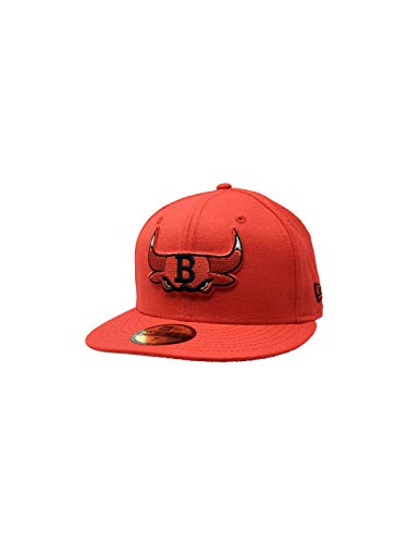 New Era Chicago Bulls Fitted Hat 59Fifty NBA Basketball Straight Brim Baseball Cap Chi (7, Red Combo Logos)
