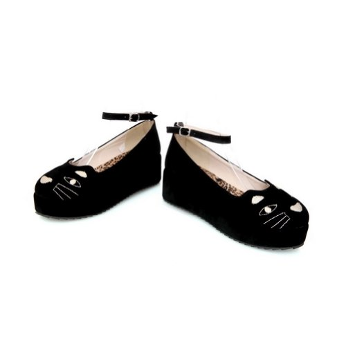 5 M Round PU Kitten Closed Frosted Heel Toe Platform Buckle Pumps Black US with WeiPoot B Womens Solid E0aq66