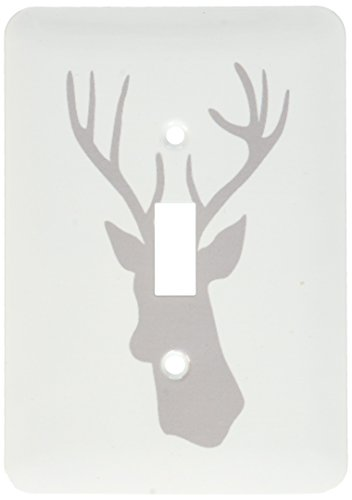 (3dRose lsp_179695_1 Grey Deer head silhouette on white. Modern gray stag with antlers - Single Toggle Switch)