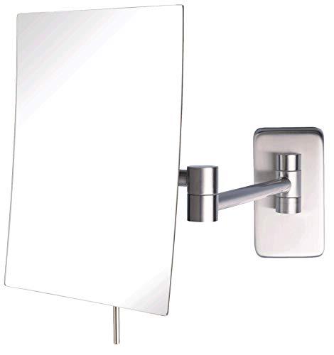 Jerdon JRT695N 6.5-Inch by 8.5-Inch Wall Mount Rectangular Makeup Mirror, Nickel -