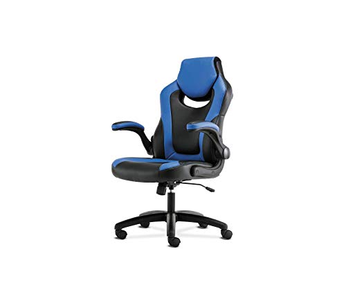 Office Home Furniture Premium Racing Gaming Computer Chair- Flip-Up Arms, Black and Blue Leather ()