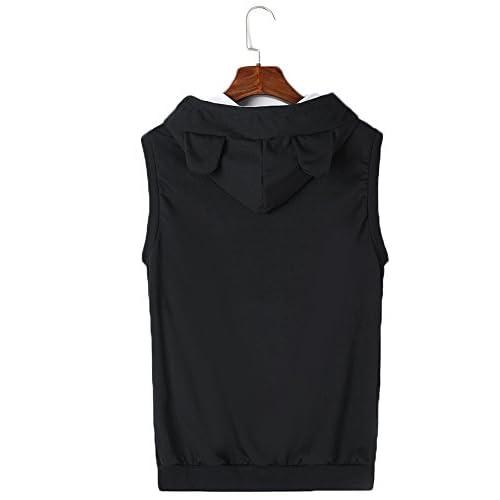 Unisex Cat Ear Big Kangaroo Pocket Sleeveless Hoodie Pet Holder Vest  Sweatshirt 30%OFF a202876ac