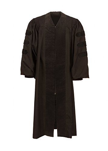 American Doctoral Gown (5'9'' - 5'11'', Black with black velvet no piping) by Graduation Attire