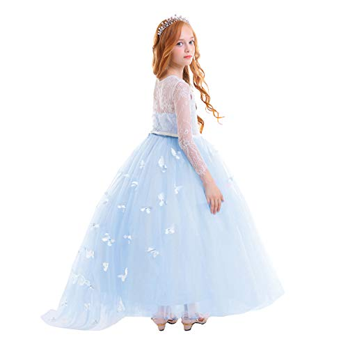 Toddler Ball Gowns (Little Big Girl Full Length Lace Bodice Tulle Ball Gown Flower Communion Dress for Kids Princess Pageant Appliques Dance Costume #F Baby Blue Long Sleeve 4-5)