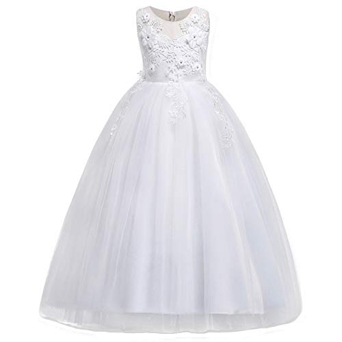 HUANQIUE Girl Embroidery Pageant Party Dress Kids Prom Ball Gown White 4-5 T ()