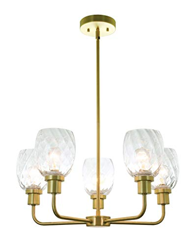(XiNBEi Lighting 5 Light Chandeliers, Pendant Chandelier Lights with Clear Glass, Satin Brass Finish XB-C1210-5-SB)