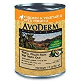 AvoDerm Natural Chicken and Vegetable Stew Recipe Dog Food – 12 12.5-Ounce Cans, My Pet Supplies