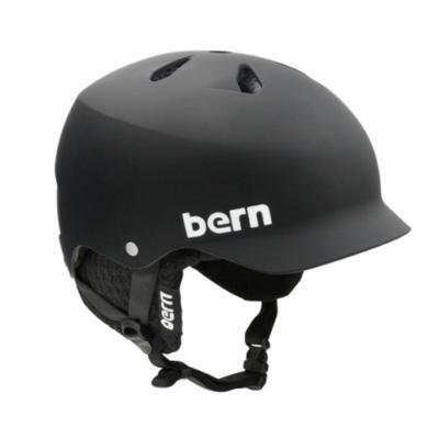 Bern Watts Hard Hat w/Knit Liner Matte Black w/ Black Knit, XXL, Outdoor Stuffs