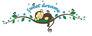Sweet Dream Sleepy Little Monkey Rest on Tree Vine Monkey wall decal