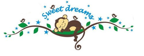 Sweet Dream Sleepy Little Monkey Rest on Tree Vine Monkey wall decal nursery wall decal (Monkey Wall Decals For Nursery)