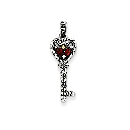 Sterling Silver Gold Two-Tone Garnet Key Charm Pendant 22x10mm (Tone Garnet Pendants Two)