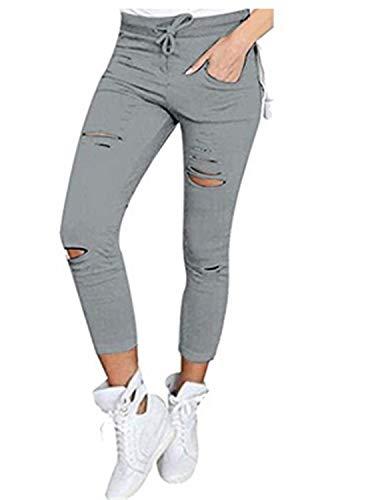 Estiramiento Para Colores Alta Vaqueros Bolsillos Modernos Cintura Recortados Lápiz Mujeres Grau Sólidos Pantalones Agujero Rasgado Con Casuales Jeans EqR70Ew