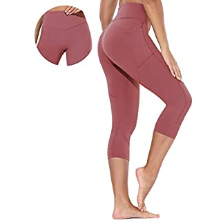 BALEAF Women's High Waist Yoga Capri Seamless Front Cropped Leggings Workout Training Pants with Pockets Merlot Red Size M