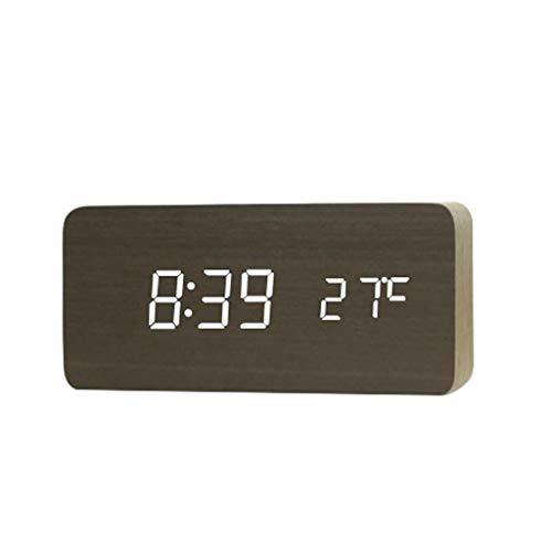 Reloj Despertador de Madera Rectangular LED Reloj Despertador Termómetro de Escritorio Reloj Despertador Moderno Escritorio electrónico