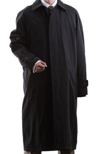 Men's Single Breasted Black Full Length All Year Round Raincoat
