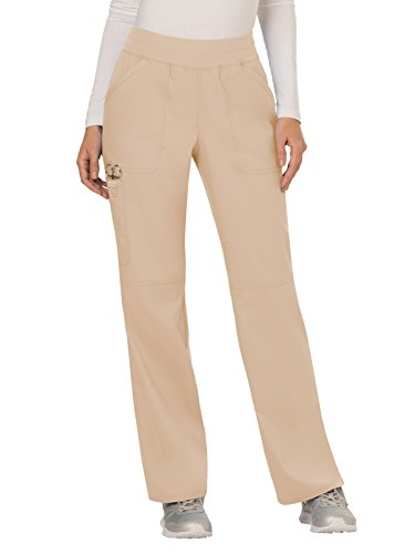 Cherokee Women's Mid Rise Straight Leg Pull-on Pant Petite, Khaki, Medium Petite