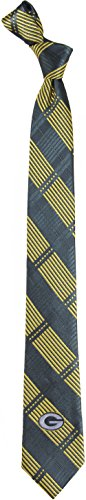 NFL Green Bay Packers Men's Woven Polyester Skinny Plaid Tie, One Size, Multicolor