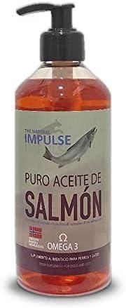 Aceite de Salmón Noruego para Perros y Gatos con Omega 3. Previene Trastornos de Crecimiento, Reacciones Alérgicas o Metabólicas. Estimula Apetito y el Crecimiento de un Pelo Suave y Brillante 500ml