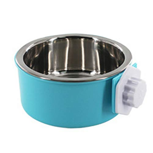 Urijk Slanted Cat Food Dish No Spill, Tilt Bowl with Anti Skid Rubber Base for Kitty Kitten, Anti Spill Water Bowl Dish Mess Proof Wide Mouth, Pet Cat Feeding Watering Supplies (L, Blue 2)