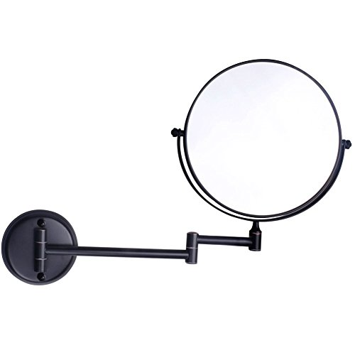 8Inch Two-Sided Swivel Wall Mounted Makeup Mirror Vanity Mirror Magnification Cosmetic Mirror Magnifiers Black 5X Magnification by TheCoolCube