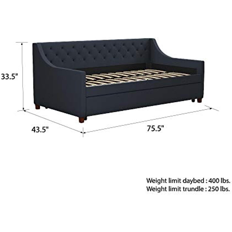 Novogratz Her Majesty Upholstered Daybed with Trundle, Twin Size Frame, Blue Linen