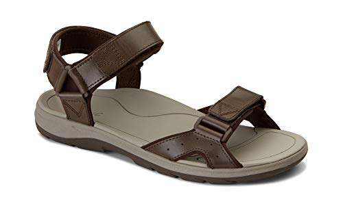 Vionic Men's Canoe Leo Backstrap Sandal - Adjustable Sandals with Concealed Orthotic Arch Support Brown 9 M US