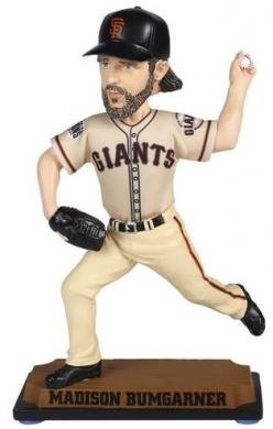 MLB San Francisco Giants Madison Bumgarner Real Jersey Bobblehead, White, 8'' by Forever Collectibles