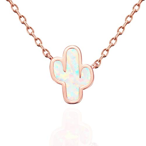 MUSTHAVE Dainty Cactus 18K Rose/White/Yellow Gold Plated Opal Necklace & Anchor Chain, White/Green Opal Necklace, Size 16 inch + 2 inch Extender (Rose ()