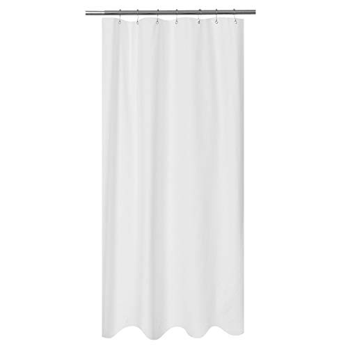 Mrs Awesome Embossed Microfiber Fabric Stall Shower Curtain Liner 36 x 72 inches,Washable and Water Repellent, White (Liner Curtain Shower Fabric Stall)