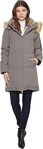 Vince Camuto Womens Faux Fur Hooded Down N1011 Grey XS (US 0-2) One Size